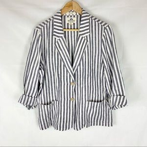 BRITISH KHAKI 100% linen striped blazer SZ XL